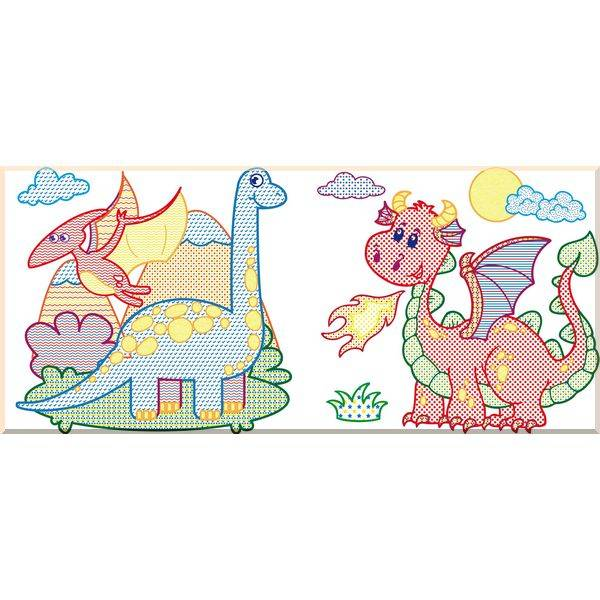 Водные раскраски с цветным контуром. Динозаврики и ...