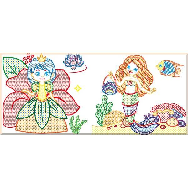 Водные раскраски с цветным контуром. Принцессы и русалочки ...